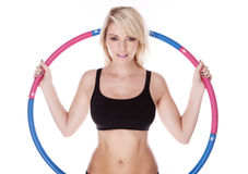 Fitness blonde woman. On white background Stock Images