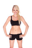 Fitness blonde woman. On white background Stock Photo