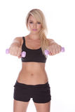 Fitness blonde woman. On white background Royalty Free Stock Photo