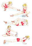 Fitness: blonde woman in red sportswear makes exercises,  hand painted watercolor illustration. Hand painted Watercolor Illustration Fitness: blonde woman in red Royalty Free Stock Images