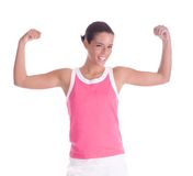 Fitness body. Happy woman practicing and smiling stock image