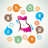Fitness and body care infographics, icons collection. Slim waist, active woman concept stock illustration