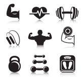Fitness bodybuilding geplaatste sportpictogrammen Royalty-vrije Stock Afbeeldingen