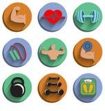 Fitness bodybuilding geplaatste sportpictogrammen Stock Afbeeldingen