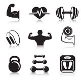 Fitness bodybuilding sport icons set. Of strength and slimness training exercises isolated vector illustration Royalty Free Stock Images