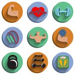 Fitness bodybuilding sport icons set. Of heart rate physical strength slimness isolated vector illustration Stock Images