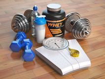 Fitness, bodybuilding or weight loss concept. Weight scales, dum Royalty Free Stock Image