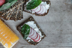 Fitness bread with cottage cheese, radish and basil and Orange j Stock Images