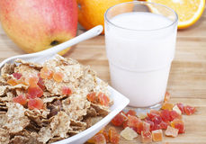 Fitness breakfast. Of cereal, fruit and yogurt Royalty Free Stock Photo