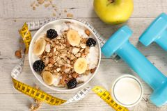Diet food concept. Fitness breakfast concept, diet food concept Stock Images