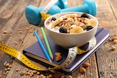 Fitness breakfast concept. On wood Stock Photo