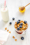 Fitness breakfast with granola, milk and honey on white background Royalty Free Stock Images