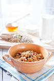 Fitness breakfast with healthy muesli and seeds Stock Image