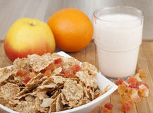 Fitness breakfast with yogurt. Fitness breakfast with yogurt and fruits Stock Photos