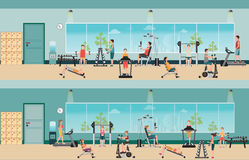Fitness cardio exercise and equipment with people in fitness gym stock illustration