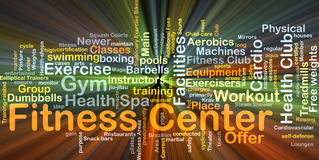 Fitness center background concept glowing. Background concept wordcloud illustration of fitness center glowing light Royalty Free Stock Photography