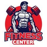 Fitness center badge. Vector of fitness center badge with bodybuilder vector illustration