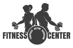 Fitness Center emblem with silhouettes of bodybuilders. Fitness club logo with exercising athletic man and woman isolated on white,  illustration Royalty Free Stock Photography