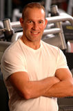 Fitness center fit man smiling stock images