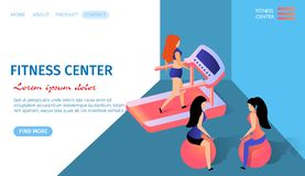 Fitness Center Horizontal Banner with Copy Space stock illustration