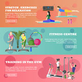 Fitness center horizontal banners set. Sport equipment and accessories. Training concept vector illustration. People Royalty Free Stock Photos