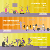 Fitness center horizontal banners set. Sport equipment and accessories. Training concept vector illustration. Stock Images