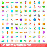 100 fitness center icons set, cartoon style. 100 fitness center icons set in cartoon style for any design vector illustration Royalty Free Stock Photos