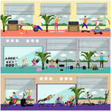 Fitness center interior vector illustration. People work out in gym horizontal banners. Sport activities concept. Stock Images