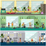 Fitness center interior vector illustration. People work out in gym horizontal banners. Sport activities concept. Stock Photos
