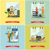 Fitness center interior vector illustration. People work out in gym. Sport activities concept. Royalty Free Stock Image