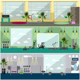Fitness center interior vector illustration. Work out in gym horizontal banners. Sport activities concept. Stock Image
