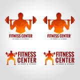 Fitness center logo (Men's muscle strength and weight lifting) Royalty Free Stock Photo