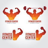 Fitness center logo (Men's muscle strength and weight lifting). Fitness center logo low poly art design (Men's muscle strength and weight lifting Royalty Free Stock Photos