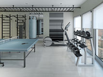 Fitness center  minimalism style Stock Images