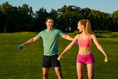 Fitness center on the nature. Stock Image