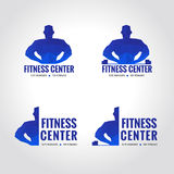 Fitness center sport blue tone logo. Low poly is Muscular men lifting weights royalty free illustration