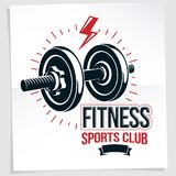 Fitness center vector marketing banner made using disc weight du Royalty Free Stock Photos
