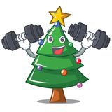 Fitness Christmas tree character cartoon. Vector illustration Stock Photos