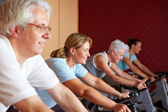Fitness class on bikes Royalty Free Stock Photography