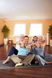 Fitness class holding thumbs up Stock Image
