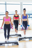 Fitness class performing step aerobics exercise with dumbbells Royalty Free Stock Image