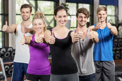 Fitness class showing thumbs up Stock Photography