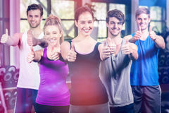 Fitness class showing thumbs up Stock Photos