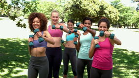 Fitness class working out together with dumbbells in the park Royalty Free Stock Photography