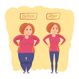 Fitness classes concept. Girl before and after weight loss. Royalty Free Stock Photo