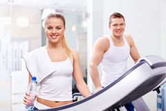 In the fitness club. Young people in the fitness club Royalty Free Stock Photography