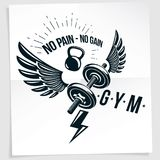Fitness club advertising vector poster composed using disc weigh Royalty Free Stock Photo