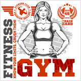 Fitness Club And Gym Label. Athletic Woman. Stock Images