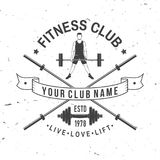 Fitness club badge. Vector. For fitness centers emblems, gym signs Stock Photography