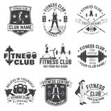 Fitness club badges. Vector. For fitness centers emblems, gym signs and others. Royalty Free Stock Photo